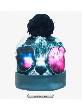 CZAPKA BEANIE SUNGLASSES GALAXY CAT