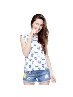 T-SHIRT WOMAN SLEEVE MARINE WHITE