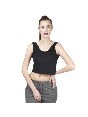 TOP CROP OPEN BACK /CZARNY